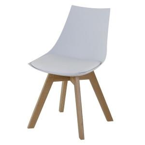 Scaun dining alb din lemn si polipropilena Kim Zago