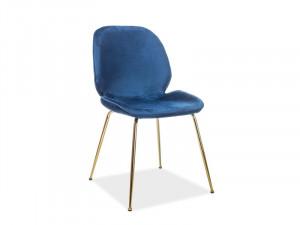 Scaun dining albastru din catifea si metal Adrien Blue Signal Meble