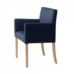 Scaun dining albastru din poliester si lemn Wilton Arms Custom Form