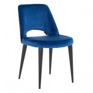 Scaun dining albastru din poliester si metal Tabitha Richmond Interiors