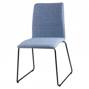 Scaun dining albastru din textil si otel Malina Light Blue Somcasa