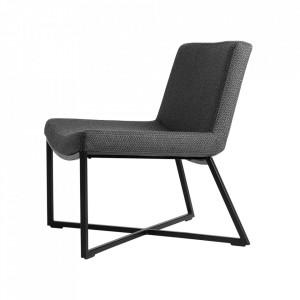 Scaun dining negru din textil si metal Zero Custom Form