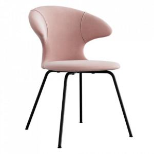 Scaun dining roz/negru din catifea si metal Time Flies Umage
