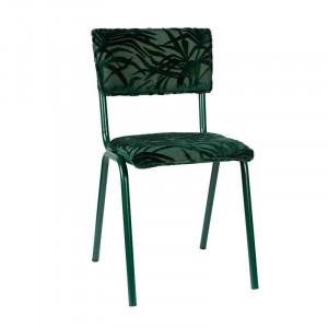 Scaun dining verde din otel si textil Miami Green Zuiver