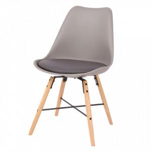 Scaun gri din plastic cu picioare din lemn Bingo Zago
