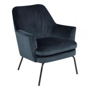 Scaun lounge albastru/negru din textil si metal Chisa Navy Black Actona Company