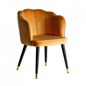 Scaun lounge galben mustar/negru din catifea Gerde Vical Home