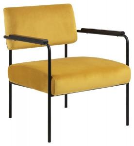 Scaun lounge galben/negru din textil si metal Cloe Actona Company