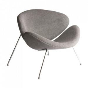 Scaun lounge gri/argintiu din textil si metal Major Signal Meble