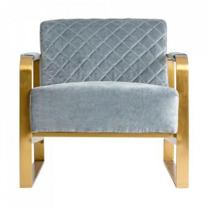 Scaun lounge gri/auriu din bumbac si otel Than Vical Home