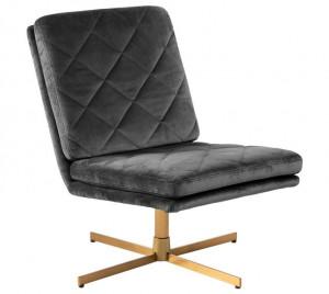 Scaun lounge maro alama/gri din poliester si metal Carrera Dark Grey Actona Company