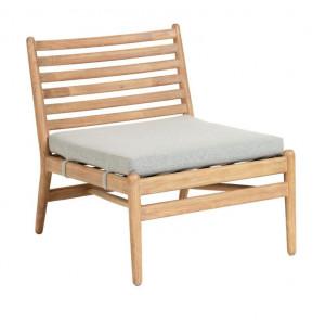 Scaun lounge maro din lemn de eucalipt pentru exterior Simja Kave Home