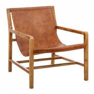 Scaun lounge maro din piele si lemn de tec Pass Denzzo
