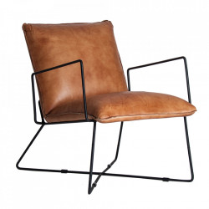 Scaun lounge maro/negru din piele si fier Seney Vical Home