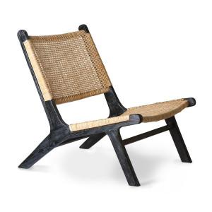 Scaun lounge maro/negru din trestie de zahar si lemn Liana HK Living