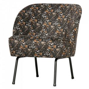 Scaun lounge multicolor din catifea si otel Vogue Flower Be Pure Home