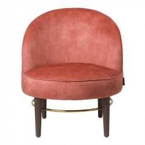 Scaun lounge multicolor din lemn si catifea Club Lux Brick Cozy Living Copenhagen