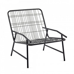 Scaun lounge negru din otel Edward Serax