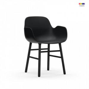 Scaun lounge negru din polipropilena si lemn Form Normann Copenhagen