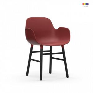 Scaun lounge rosu/negru din polipropilena si lemn Form Normann Copenhagen