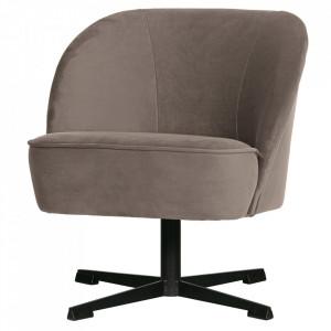 Scaun lounge rotativ gri/negru din catifea si otel Vogue Nougat Be Pure Home