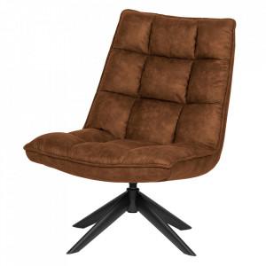 Scaun lounge rotativ maro din poliuretan si metal Jouke Woood
