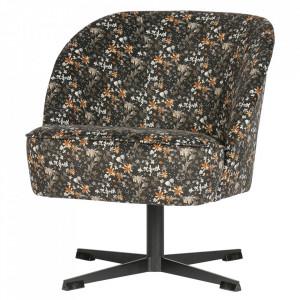 Scaun lounge rotativ multicolor din catifea si otel Vogue Flower Be Pure Home