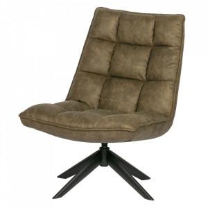 Scaun lounge rotativ verde din poliuretan si metal Jouke Woood