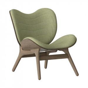 Scaun lounge verde/maro inchis din poliester si lemn A Conversation Piece Umage