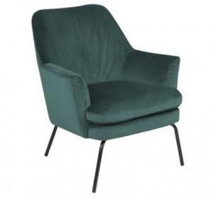 Scaun lounge verde/negru din textil si metal Chisa Bottle Green Black Actona Company