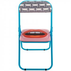 Scaun pliabil multicolor din metal si PVC Mouth Seletti