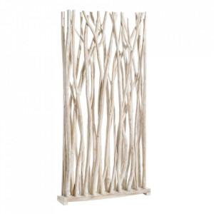 Separator camera alb din lemn de tec 200 cm Birriwa Denzzo