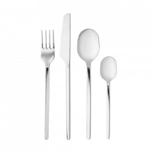Set 16 tacamuri argintii din inox Carved Cutlery Bolia