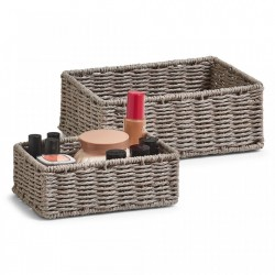 Set 2 cosuri gri din hartie Mesh Storage Baskets Gray Zeller