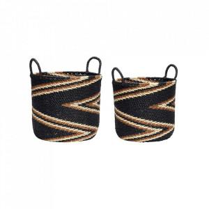 Set 2 cosuri multicolore din hartie Nature Basket Black Hubsch