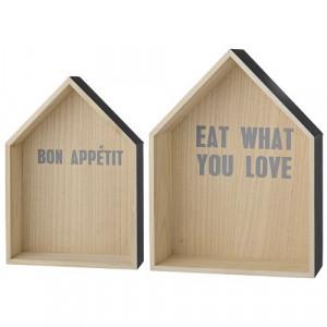 """Set 2 cutii casa pentru perete """"Eat what you love"""" Bloomingville"""