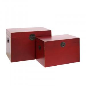 Set 2 cutii rosii cu capac din MDF Matrika Ixia