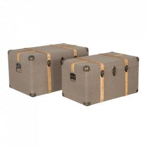 Set 2 cutii tip valiza grej din MDF si metal Bulga Denzzo