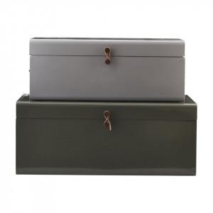 Set 2 cutii verde/gri din otel cu capac Storage House Doctor