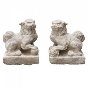 Set 2 decoratiuni crem din marmura 25 cm Lions Versmissen