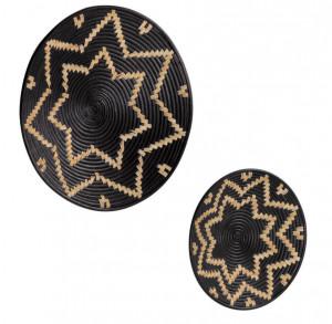 Set 2 decoratiuni maro/negre din ratan pentru perete Aurek Kave Home