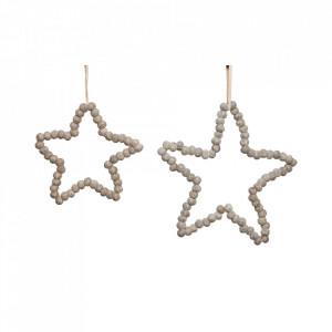 Set 2 decoratiuni suspendabile din lana si fetru Star Hubsch