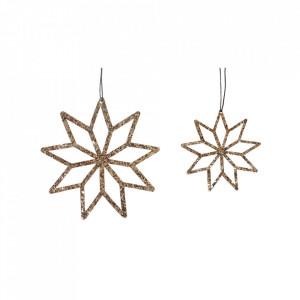Set 2 decoratiuni suspendabile din textil si cupru Star Hubsch