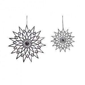 Set 2 decoratiuni suspendabile negre din textil Stars Hubsch