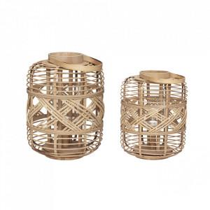 Set 2 felinare maro din bambus Clark Hubsch