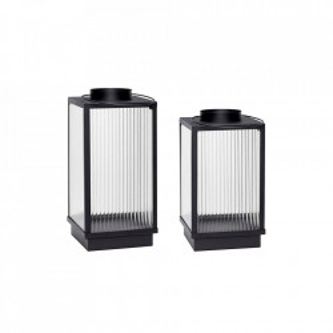Set 2 felinare transparente/negre din sticla si metal Block Lantern Hubsch