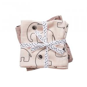 Set 2 paturi roz din bumbac pentru copii 120x120 cm Zoo Powder Done by Deer