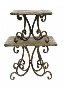 Set 2 platouri cu picior maro din lemn si metal Pedestal Bloomingville