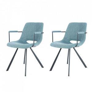 Set 2 scaune dining albastre din in si metal Josephine Arms Kayoom