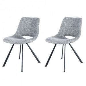 Set 2 scaune dining gri din in si metal Josephine Kayoom